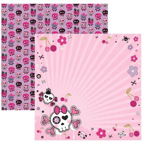 Folha Scrapbook Dupla Face Caveiras Pink Floral Ref.15452-SDF449 Toke e Crie