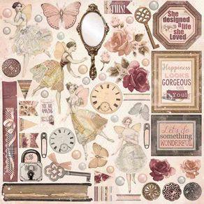 Folha Scrapbook Dupla Face Charmed Perfection (Perfeição) Ref.21108-WER125/22601273 American Crafts