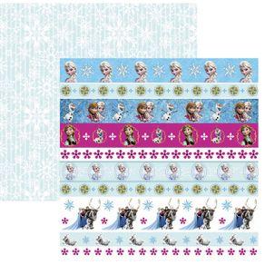 Folha Scrapbook Dupla Face Frozen 2 Faixas Ref.19685-SDFD101 Toke e Crie