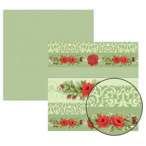 Folha Scrapbook Dupla Face Rosas Vermelhas Barrinhas Ref.11920-SDF226 Toke e Crie
