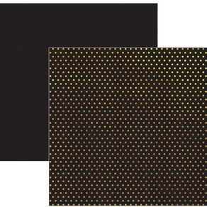Folha Scrapbook Metalizada Poá Dourado FD Preto Ref.17739-SDF618 Toke e Crie