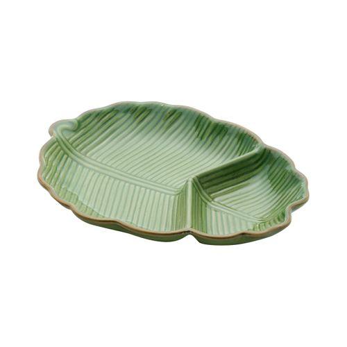 Folha Verde em Cerâmica com Divisória Leaf 25,5cm