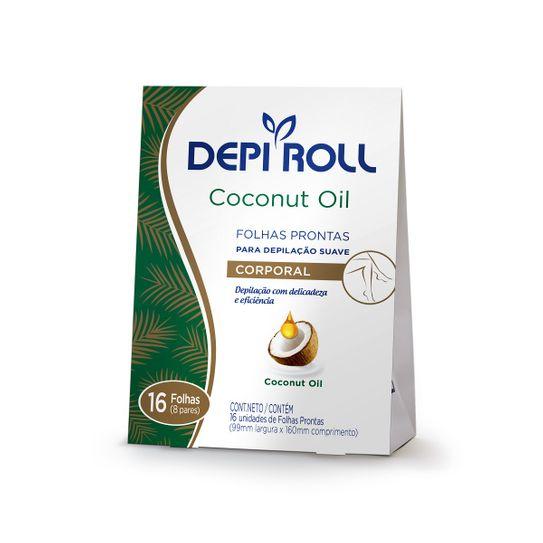 Folhas Depilatórias Depiroll Corporal Coconut Oil com 16 Unidades