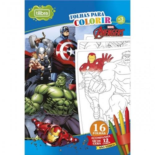 Folhas para Colorir Gigante com Giz de Cera Avengers - 16 Folhas 155314