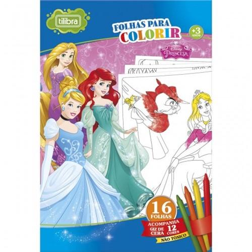 Folhas para Colorir Gigante com Giz de Cera Princesas - 16 Folhas 155331