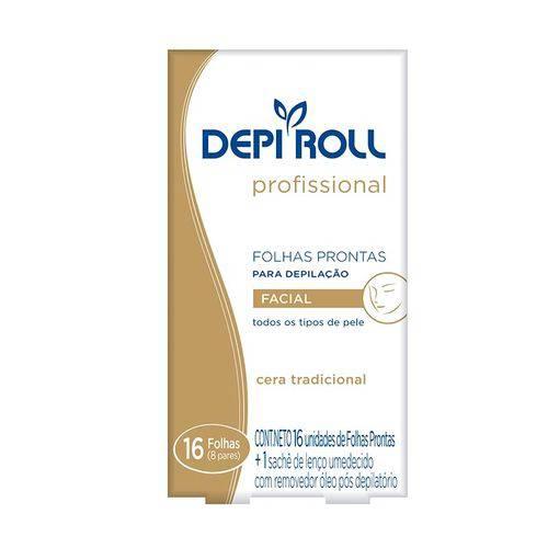 Folhas Prontas para Depilação Facial Depi-Roll Tradicional - 8 Pares
