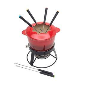 Fondue 10 Peças de Ceramica Red Gradual com Base Metal 26377 Bon Gourmet
