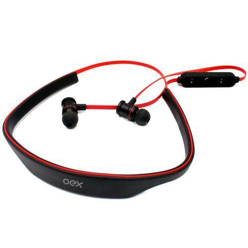 Fone de Ouvido Bluetooth Esportivo Preto Vermelho Oex Hs302