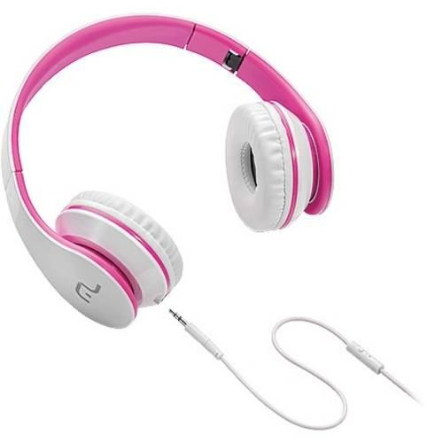 Fone de Ouvido com Microfone para Celular Branco e Rosa Ph114