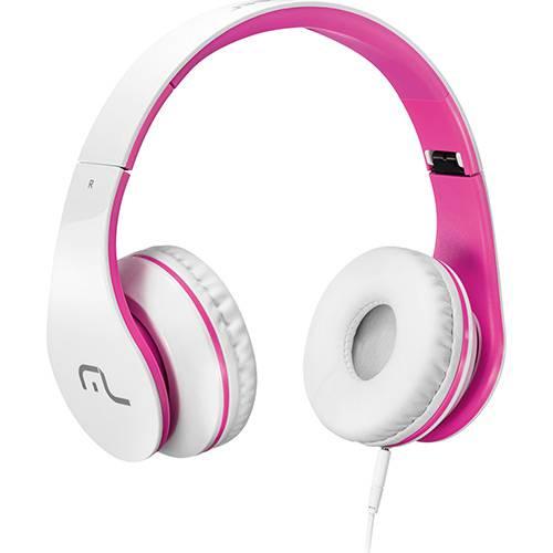 Fone de Ouvido com Microfone para Celular Multilaser PH114 - Branco e Rosa