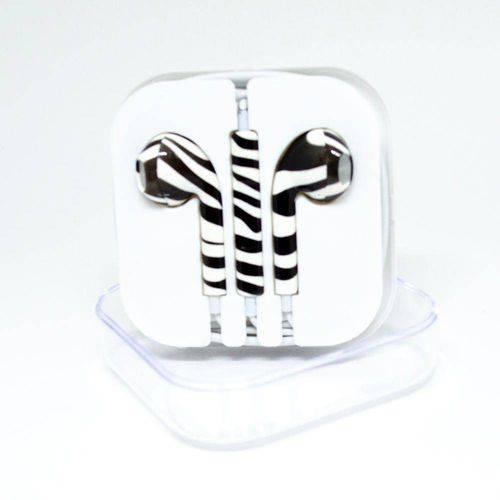 Fone de Ouvido Genérico IPhone Estampa Zebra