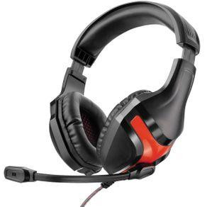 Fone de Ouvido Headset Gamer Multilaser PH101 Preto com Vermelho