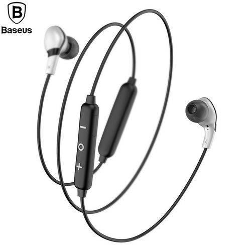 Fone de Ouvido Sem Fio Bluetooth 4.1 - Baseus S04 Preto/ Prata - Lacrado - Original