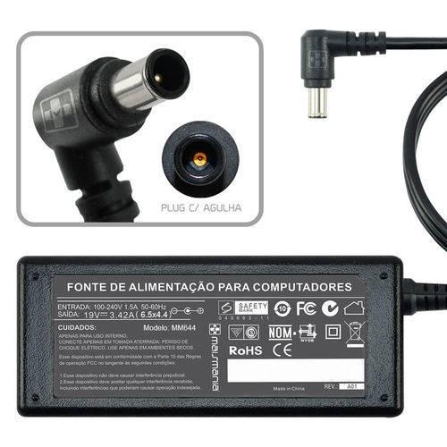 Fonte Carregador Mais Mania P Notebook Lg 19v 3.42a 65w - Plug 6.4x4.4mm Agulha Central