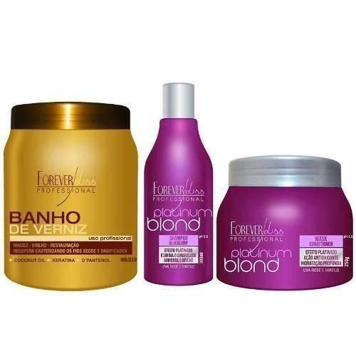 Forever Liss Banho de Verniz 1000g + Kit Duo Platinum Blond