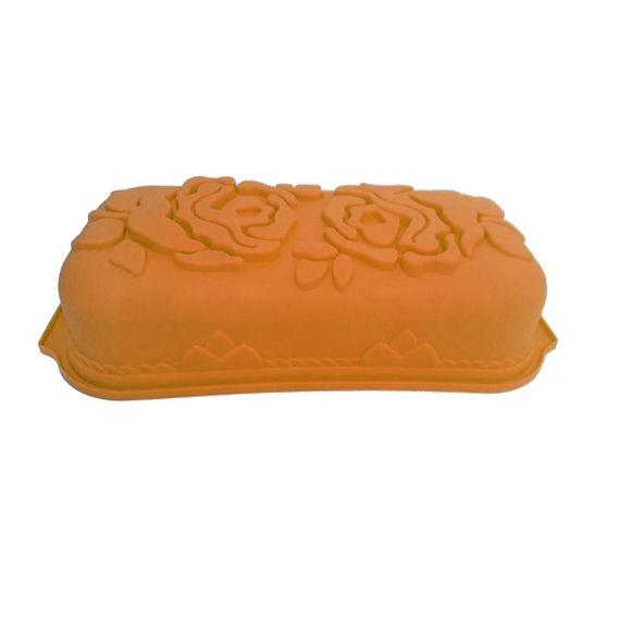 Forma de Bolo Silicone Roses Laranja Basic Kitchen