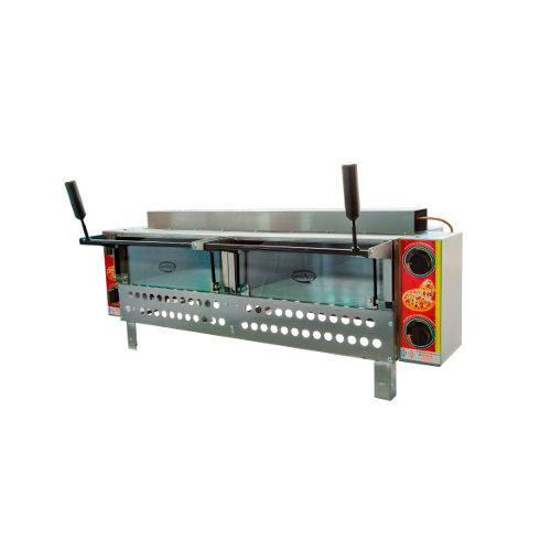 Forno Grill Industrial para Pizza em Aço Inox de Mesa Duplo com Infravermelho e Pedra Refratária