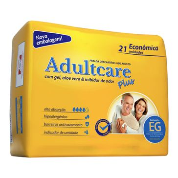 Fralda Adultcare Plus Econômica EG 21 Unidades