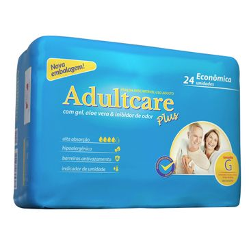 Fralda Adultcare Plus Econômica G 24 Unidades