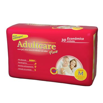 Fralda Adultcare Plus Econômica M 30 Unidades