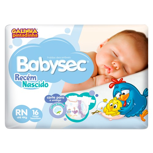 Fralda Babysec Recém-Nascido Tamanho RN com 16 Fraldas Descartáveis