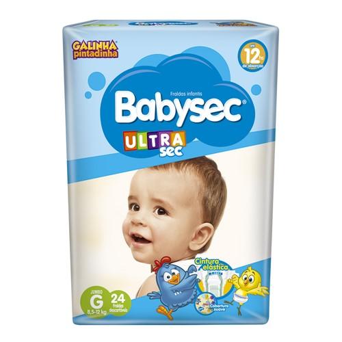 Fralda Babysec Ultraprotect Tamanho G Pacote Jumbo com 24 Fraldas Descartáveis