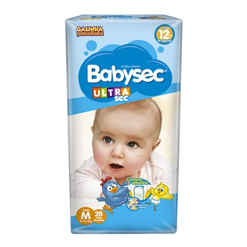 Fralda Babysec Ultraprotect Tamanho M Pacote Jumbo com 28 Fraldas Descartáveis