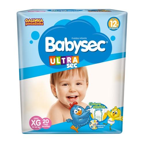 Fralda Babysec Ultraprotect Tamanho XG Pacote Jumbo com 20 Fraldas Descartáveis