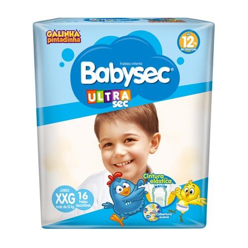 Fralda Babysec Ultraprotect Tamanho XXG Pacote Jumbo com 16 Fraldas Descartáveis