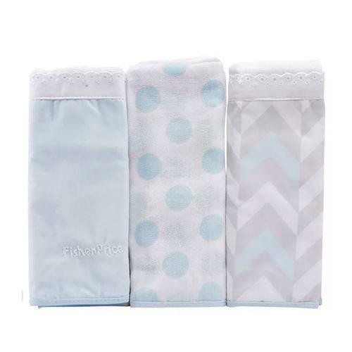 Fralda de Algodão para Bebê Luxo Masculina Azul Kit com 3 Unidades