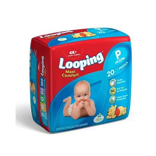 Fralda Descartável Looping Maxi Confort Prática P 20 Unidades