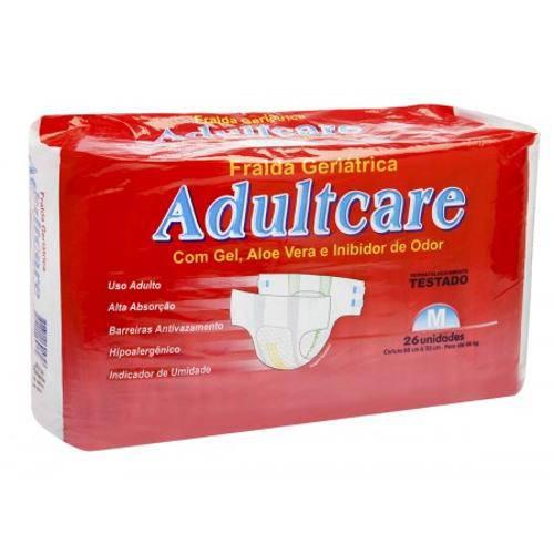 Fralda Geriátrica Adultcare Economica - Tamanho M - 26 Unidades