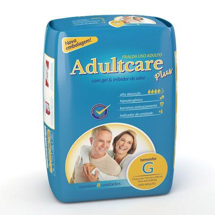 Fralda Geriátrica Adultcare Plus G 8 Unidades