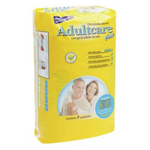 Fralda Geriátrica Adultcare Plus - Tamanho Eg - 7 Unidades