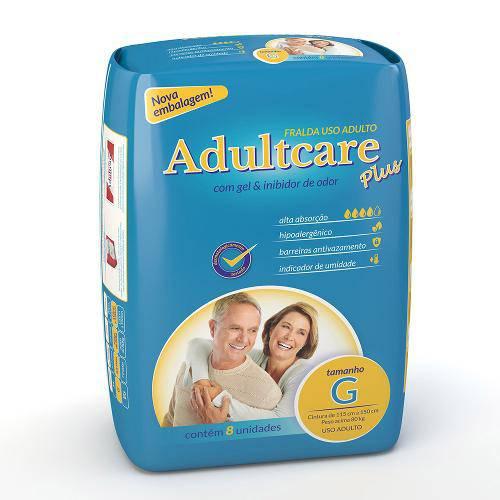 Fralda Geriátrica Adultcare Plus - Tamanho G - 8 Unidades