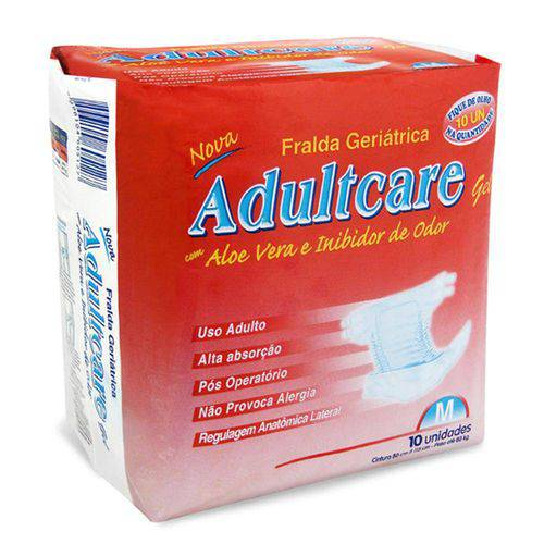 Fralda Geriátrica Adultcare Plus - Tamanho M - 10 Unidades