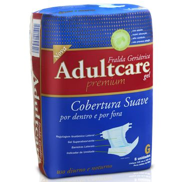 Fralda Geriátrica Adultcare Premium G 8 Unidades