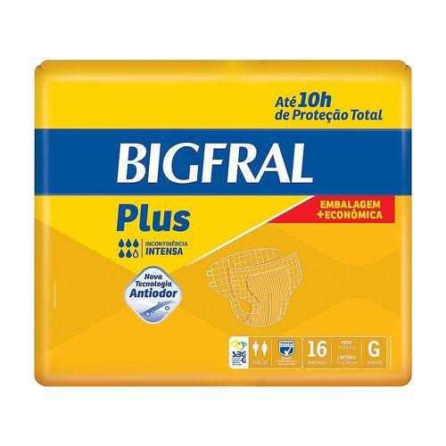 Fralda Geriátrica Bigfral Plus Embalagem Econômica G 16 Unidades