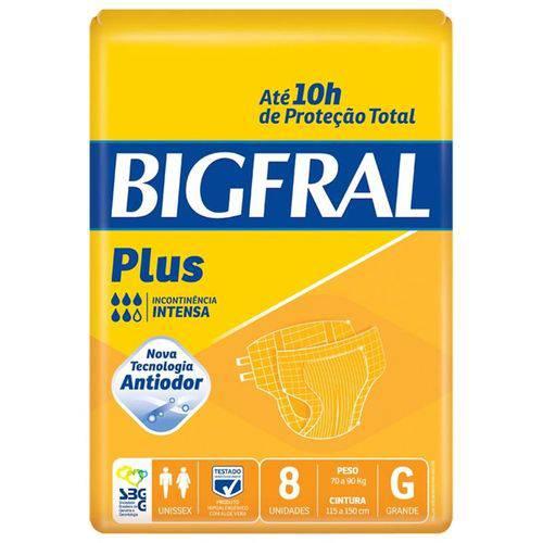 Fralda Geriatrica Bigfral Plus Tamanho Grande - 8 Unidades