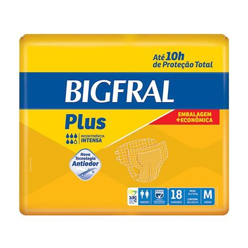 Fralda Geriátrica Bigfral Plus Tamanho M com 18 Unidades
