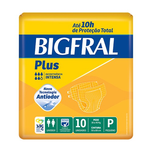 Fralda Geriátrica Bigfral Plus Tamanho P com 10 Unidades