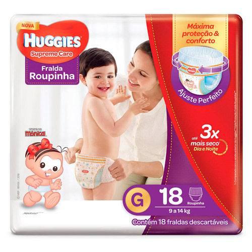 Fralda Huggies Supreme Care Roupinha Jumbo G 18 Unidades
