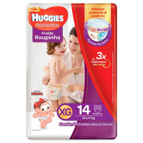 Fralda Huggies Supreme Care Roupinha Jumbo Xg 14 Unidades