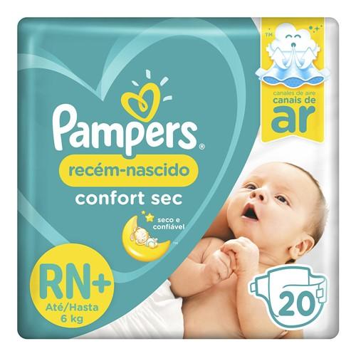 Fralda Pampers Confort Sec Recém-Nascido Tamanho RN (até 6kg) 20 Fraldas Descartáveis