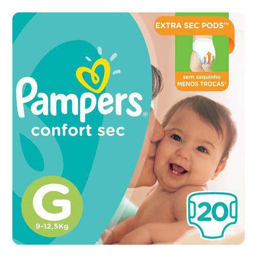 Fralda Pampers Confort Sec Tam G 20 Unids - 9 a 12,5Kg