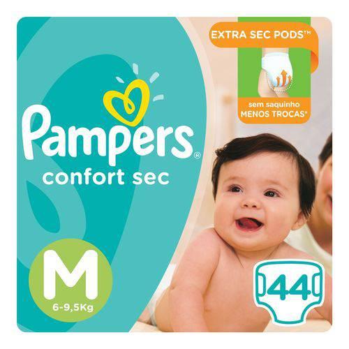 Fralda Pampers Confort Sec Tam M 44 Unids- 6 a 9,5Kg