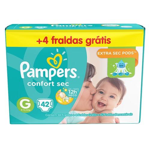 Fralda Pampers Confort Sec Tamanho G Pacote Mega com 38 Fraldas Descartáveis + 4 Fraldas Grátis