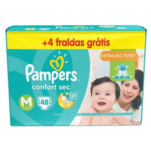 Fralda Pampers Confort Sec Tamanho M Pacote Mega com 44 Fraldas Descartáveis + 4 Grátis