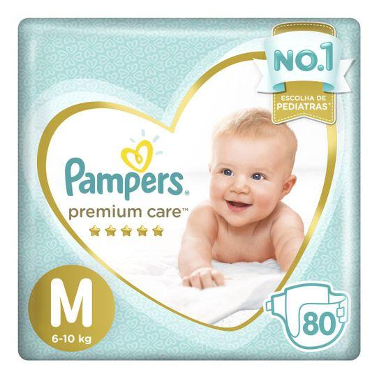 Fraldas Pampers Premium Care M 80 Unidades