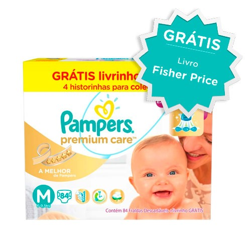 Fralda Pampers Premium Care M 84 Unidades + Livro Fisher Price